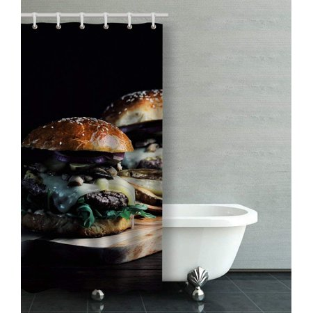 WOPOP Burger With Mushrooms Arugula Tabasco Sauce Gruyere Cheese Brioche Bun Shower Curtain Bathroom Curtain 36x72 inches