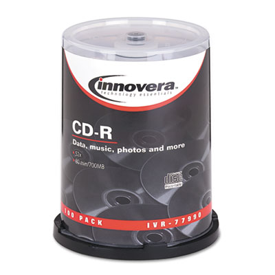 CD-R Discs, 700MB/80min, 52x, Spindle, Silver, 100/Pack, Sold as 1 Package, 100 Each per Package