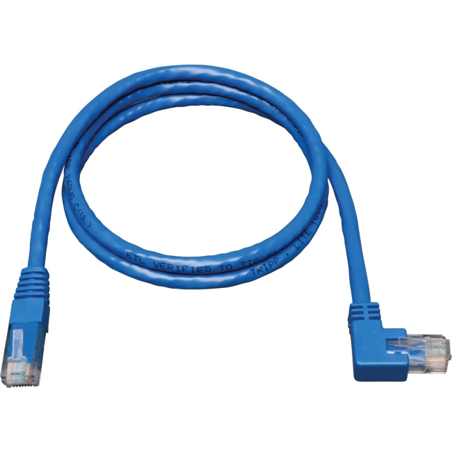 Tripp Lite 3ft Cat6 Gigabit Molded Patch Cable (Right Angle M to M) - Blue