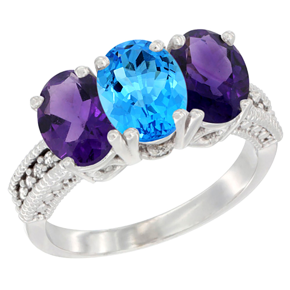 10K White Gold Natural Swiss Blue Topaz & Amethyst Sides Ring 3-Stone Oval 7x5 mm Diamond Accent, sizes 5 10 by WorldJewels