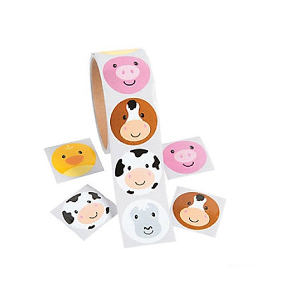 FARM FACE ANIMAL STICKERS - ROLL OF 100