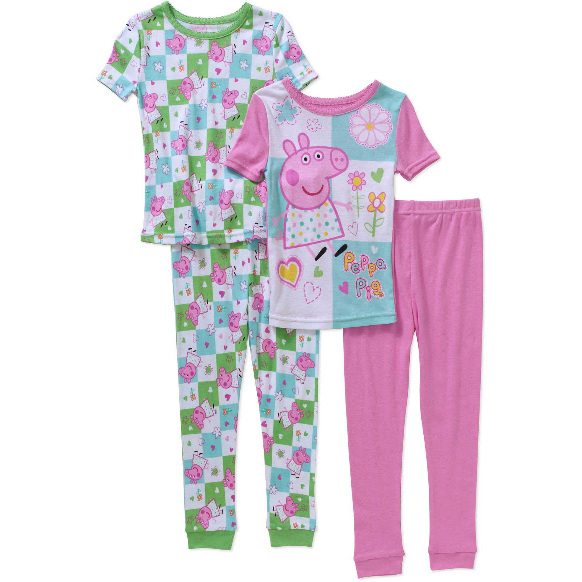Toddler Girls' Cotton Tight Fit Short Sleeve Pajama 4-Piece Set-Online Exclusive