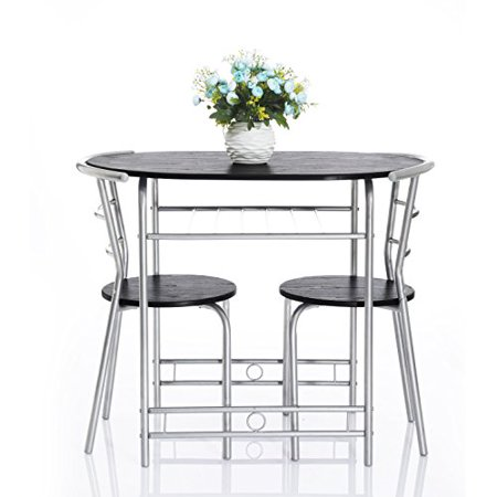 Metal Stack (Krasavic 3 Piece Kitchen Dining Table Set for 2 with Stack ChairsWood Top Metal)