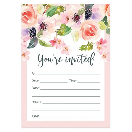 25 Floral Invitations with Envelopes ( Pack of 25 ) Baby Shower, Wedding, Fill In, Bridal Shower, Rehearsal Dinner Invites, Engagement, Anniversary, Graduation, Birthday Party Excellent Value VI0017B