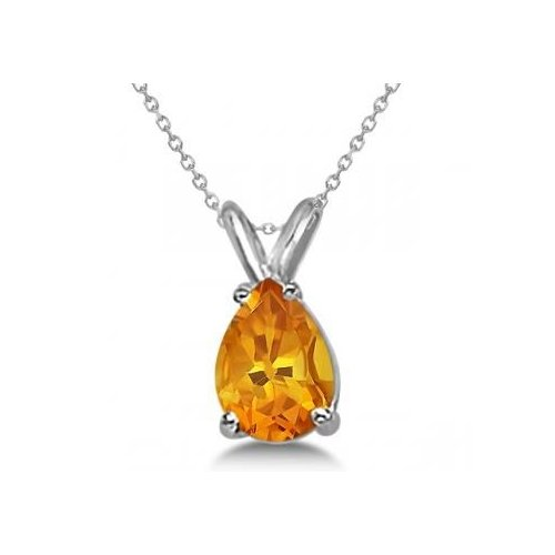 Seven Seas Jewelers Citrine Gemstone Solitaire Pear Shaped Pendant Necklace 14K White Gold with Matching Chain (1.00cw) by Brand New
