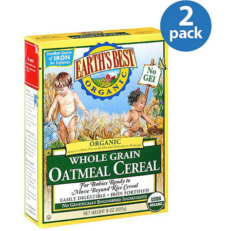 (2 Pack) Earth's Best Organic Baby Food Whole Grain Oatmeal Cereal, 8