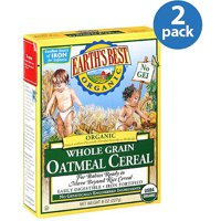 (2 Pack) Earth's Best Organic Baby Food Whole Grain Oatmeal Cereal, 8 oz.