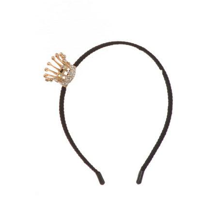 Girls Gold Adjustable Sparkle Rhinestone Crown Velvet Lined Headband (Headband Crowns)