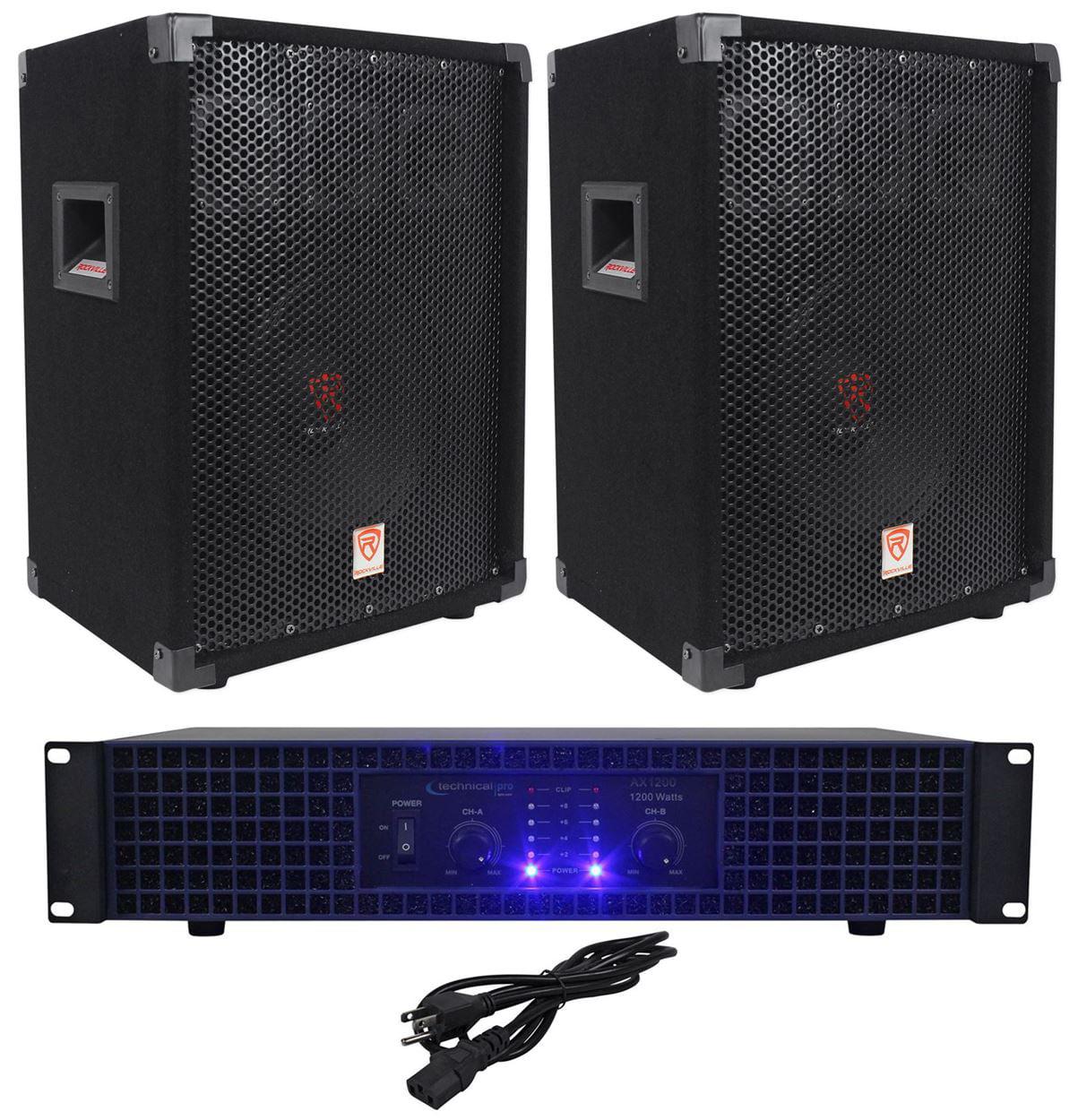 """2) Rockville RSG10 10"""" PA Speakers+Technical Pro AX1200 1200w Power DJ Amplifier"""