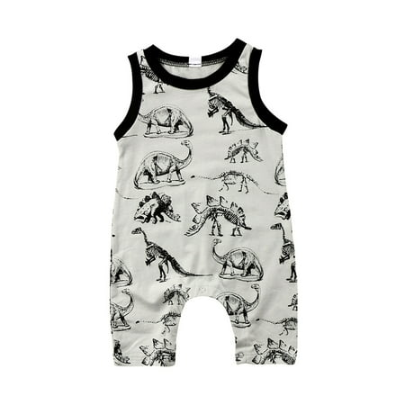 Newborn Baby Boys Girls Summer Sleeveless Dinosaur Vest Romper Jumpsuit Bodysuit Playsuit Outfits Clothes