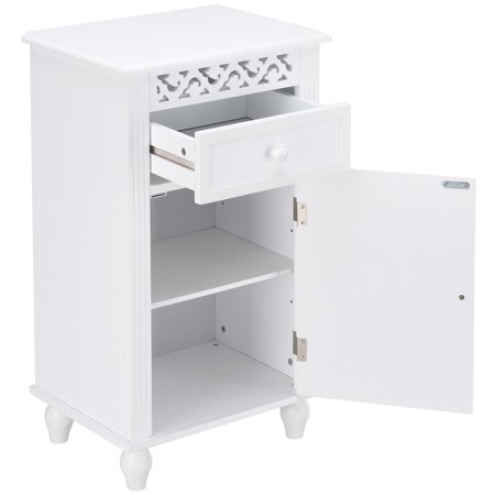 Gymax Storage Floor Cabinet Bathroom Organizer Floor ...