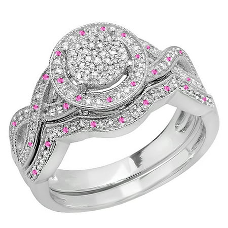Dazzlingrock Collection Sterling Silver Round Pink Sapphire And White Diamond Womens Engagement Ring Set, Size (Diamond Engagement Rings With Pink Sapphire Accents)
