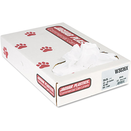Jaguar Plastics Industrial Strength White Commercial Can Liners, 30 gal, 100 ct