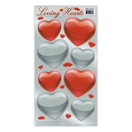 Magnet Variety Pack (8 Magnets) - Red and Silver Hearts (Valentine's Day) - Refrigerators, Cars, Mailboxes, Decoration - 2.25