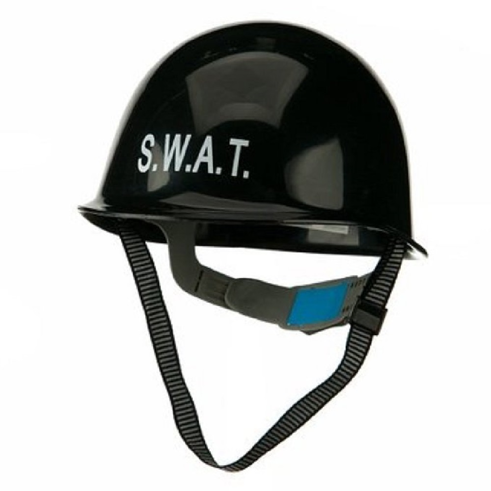 Swat Police Helmet Adult Team Deluxe Officer Costume Plastic Black Hat Accessory