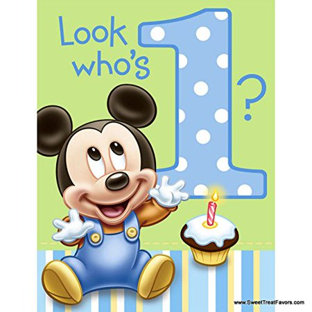 Mickey Mouse Baby 1st Birthday Edible Icing Image Cake Topper, Easy to use! Just peel backing and lay on top of cake on your icing. By Whimsical Practicality
