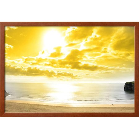 Panorama of A Beautiful Yellow Sun over the Ballybunion Beach Framed ...