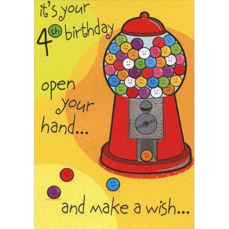 Designer Greetings Gumball Machine Age 4 / 4th Birthday Card