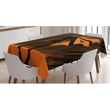 Superhero Tablecloth, Hero in Disguise at Night with Super Powers Hand Drawn Style Muscular Man Print, Rectangular Table Cover for Dining Room Kitchen, 52 X 70 Inches, Orange Black, by Ambesonne