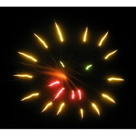 LAMINATED POSTER Lights Gold Red Smiley Face Fireworks Orange Poster Print 24 x 36](Smiley Face Lights)