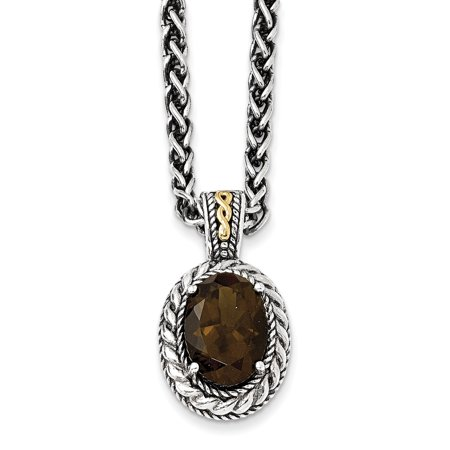 - Shey Couture 925 Sterling Silver with Gold-Tone Accent Antiqued Smoky Quartz Necklace, 18