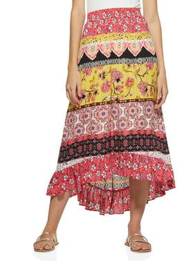 Scoop Womens Skirt With Ruffle Hem