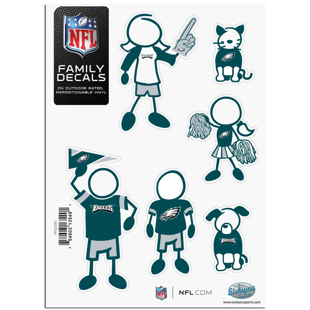 Philadelphia Eagles Official NFL Small Family Decal Set by Siskiyou 135491