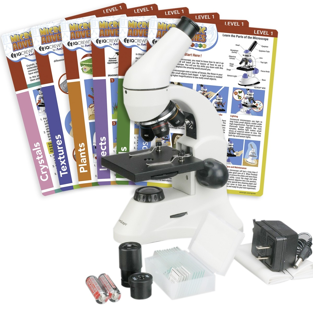 AmScope 40X-1000X Student LED Microscope Kit-Prepared Slides Experiment Cards