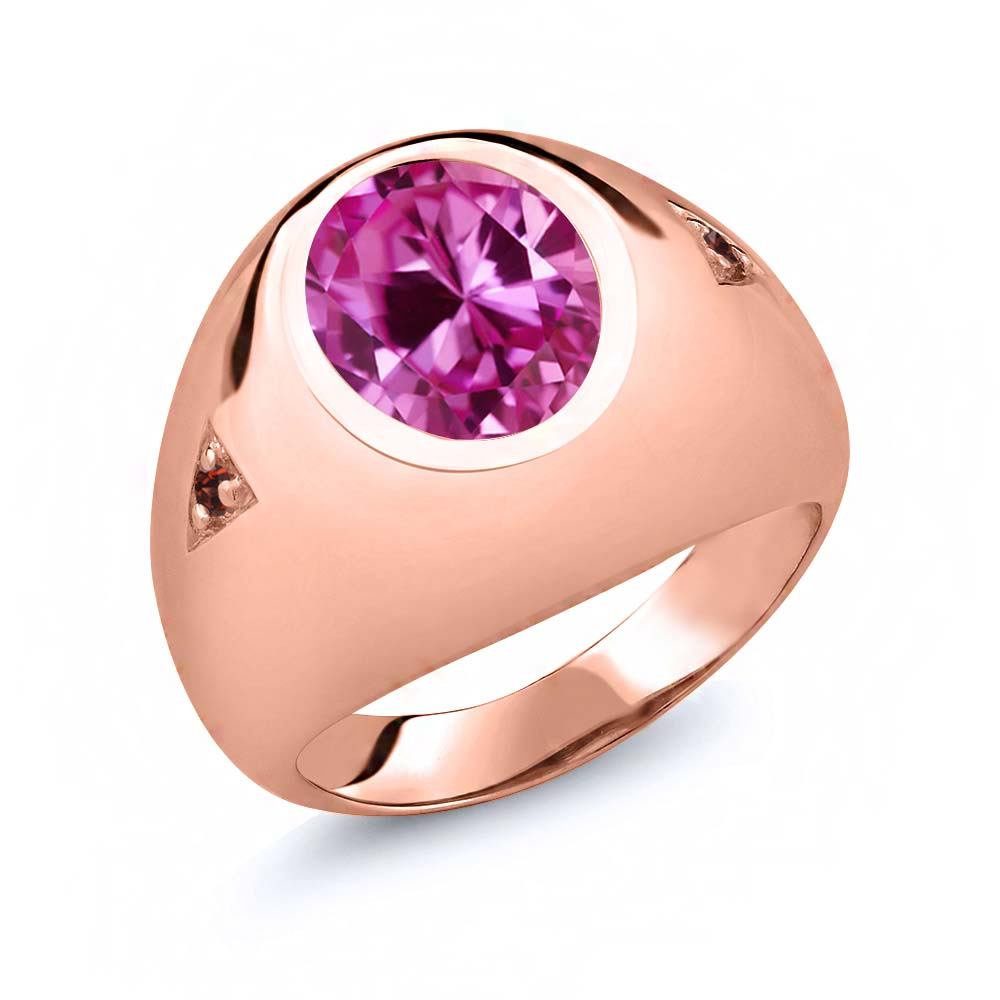 6.08 Ct Oval Pink Created Sapphire Red Garnet 14K Rose Gold Men's Ring by
