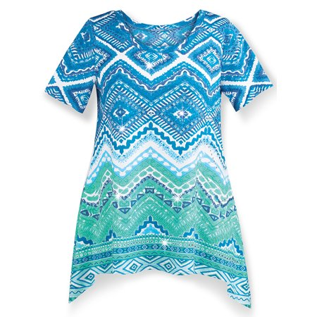 Women's Southwestern Aztec Sharkbite Tunic Top with Short Sleeves ()