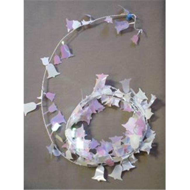 Party Deco 04547 9 ft.  Iridescent White Bells Wire Garland - Pack of 12