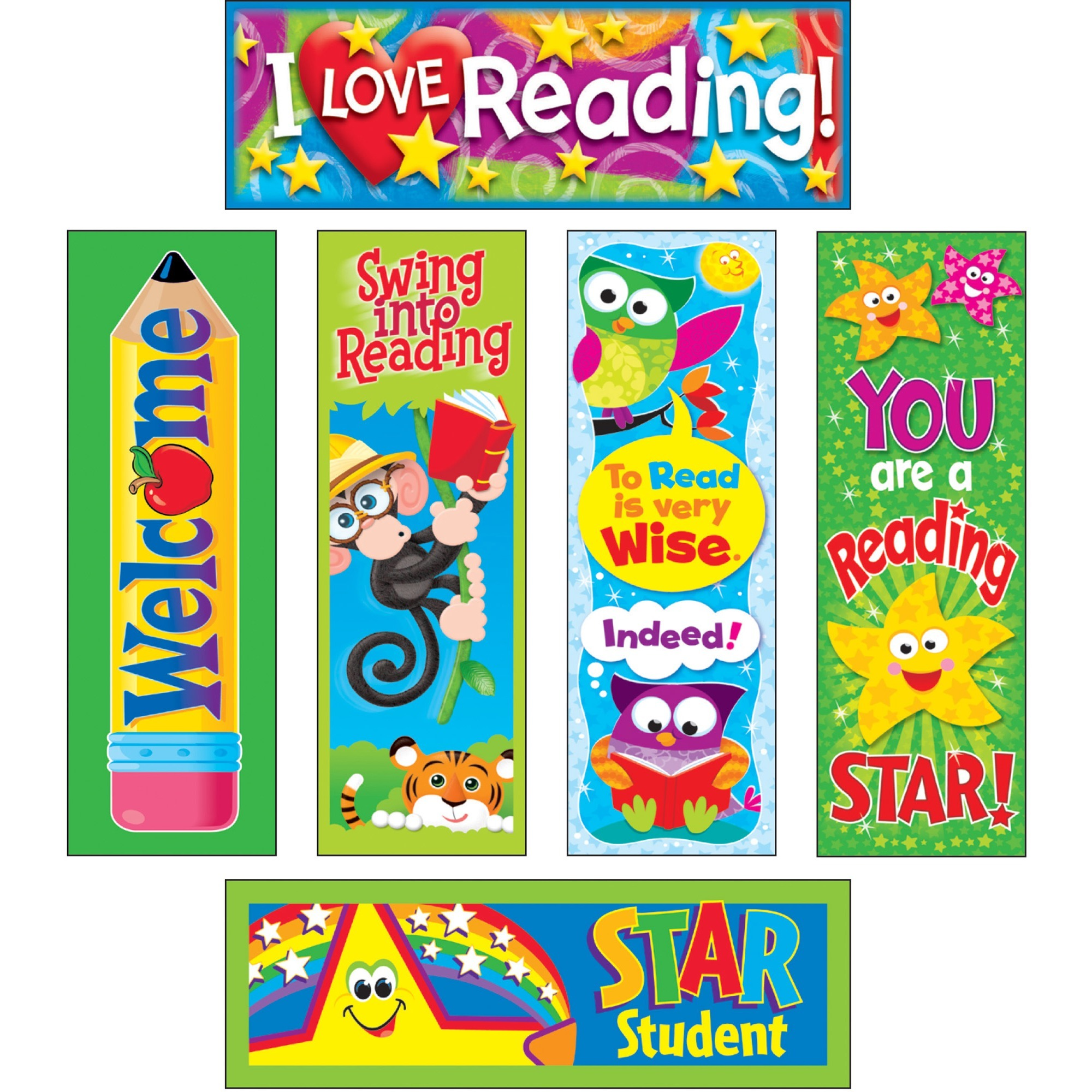 Trend, TEPT12907, Reading Fun Bookmark Combo Pack, 6   Pack, Multicolor by Trend enterprises, Inc