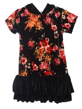 afd82c49cd Product Image Little Girls Floral Velvet Hoodie Double Ruffle Party Flower  Girl Dress Black Size 4 (43D2F