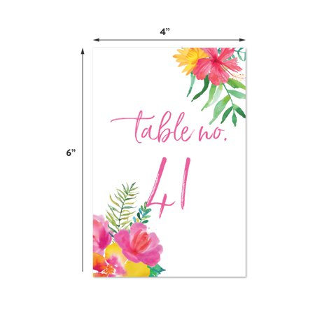 Tropical Floral Garden Party Wedding, Table Numbers 41 - 60 on Perforated Paper, 4 x - Tropical Paper Garden
