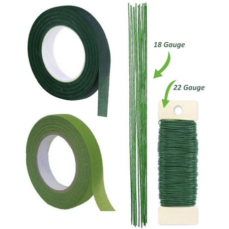 Floral Tape (1/2 Inch Floral Tape, Self-Sealing, Dark Green and Light Green, With Green Paddle Wire 22-Gauge Includes 12 Pieces of 18 Inch 18 Gauge)