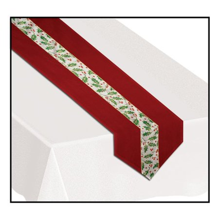 The Holiday Aisle Christmas Holly Fabric Table Runner - Rose Petal Aisle Runner