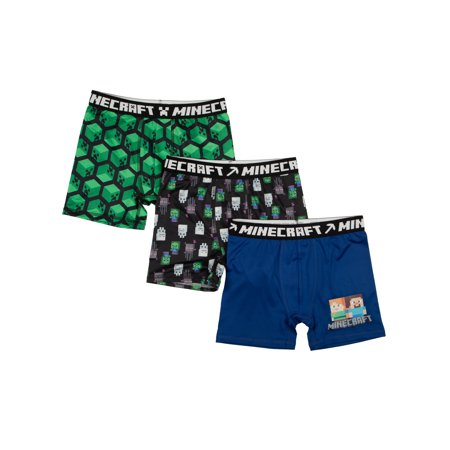 Minecraft Poly Boxer Briefs, 3 Pack (Big Boys & Little Boys)