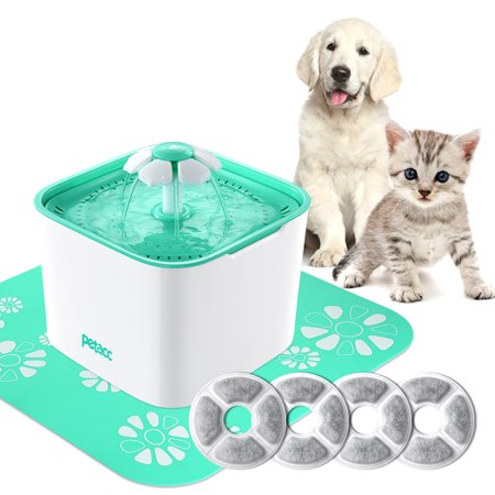 2L Pet Drinking Fountain Cat Dog Water Dispenser Pump 4 Replacement Filters - Healthy Hygienic Super Quiet Automatic Electric Water