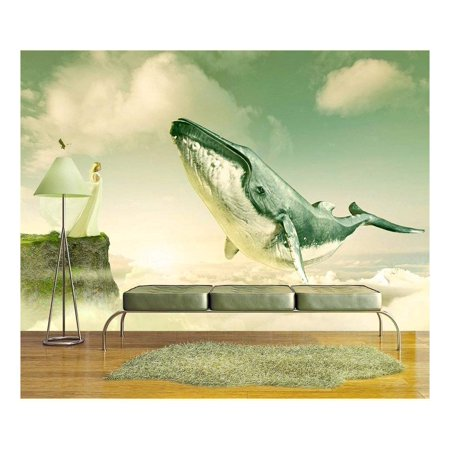 wall26 Large Wall Mural - Fantasy Series - Girl on and Cliff with a Flying Whale above the Clouds | Self-adhesive Vinyl Wallpaper/Removable Modern Wall Decor - 100x144 inches (A Girls Fantasy)