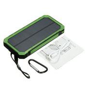 Solar Power Bank Waterproof 300,000mAh 2 USB Portable Solar Battery LED Flashlight + Carabiner + USB Cable for iPhone Samsung iPad