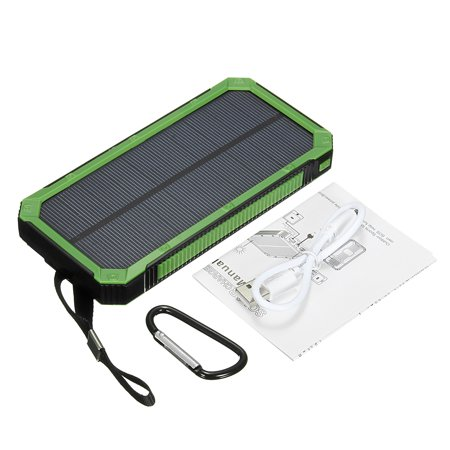 Usb Battery Charger Usb - Solar Power Bank Waterproof 300,000mAh 2 USB Portable Solar Battery Charger LED Flashlight + Carabiner + USB Cable for iPhone Samsung iPad
