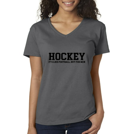 Trendy USA 939 - Women's V-Neck T-Shirt Hockey It's Like Football But For Men XL Charcoal (Usa Hockey Jersey 2014)