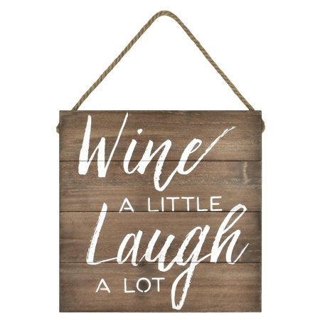 Better Homes & Gardens Wine a Little Wall Hanging Sign, Antique Wood (Stained Acacia Wood Garden Decor)