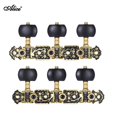 Alice AOS-020HV3P 2pcs(L&R) Acoustic Classical Guitar Tuning Keys Pegs String Tuners 3+3 Machine Heads (Short) Gold and Black Plated
