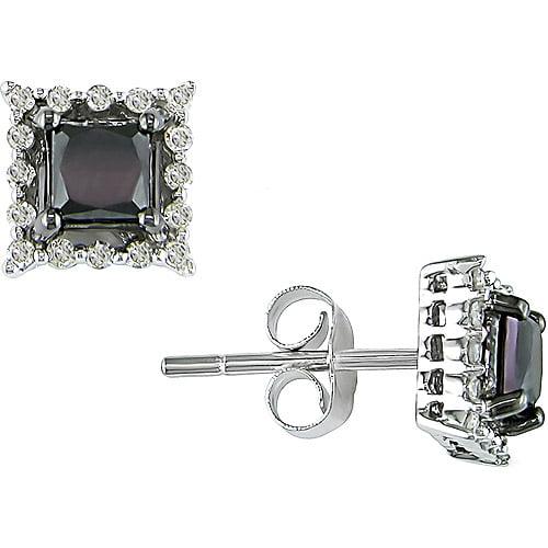 1 Carat T.W. Princess Cut Black and White Diamond 10kt White Gold Stud Earrings