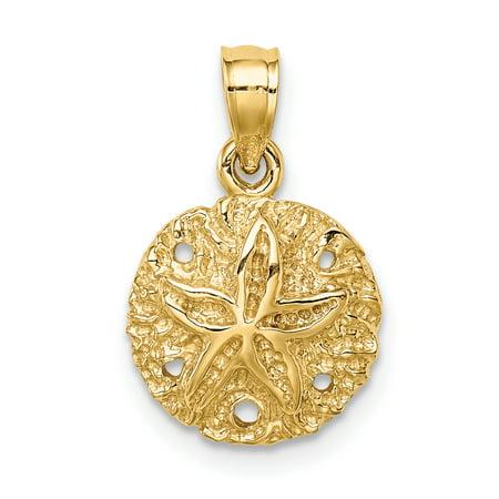 14K Yellow Gold Polished Sand Dollar Pendant