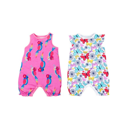 Organic Cotton Jumpsuit (100% Organic Cotton Sleeveless One Piece Rompers, 2-pack (Baby Girls))
