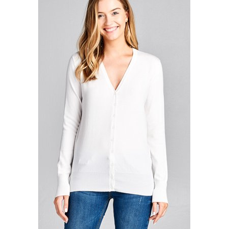 333fe5199dc7 Active Basic - Women s Long Sleeve Button Up Sweater Cardigan Rib Banded  Classic V-Neck in Several Colors - Walmart.com