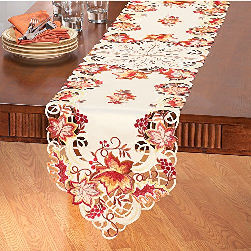 Elegant Fall Leaves Table Linens Runner by Collections Etc
