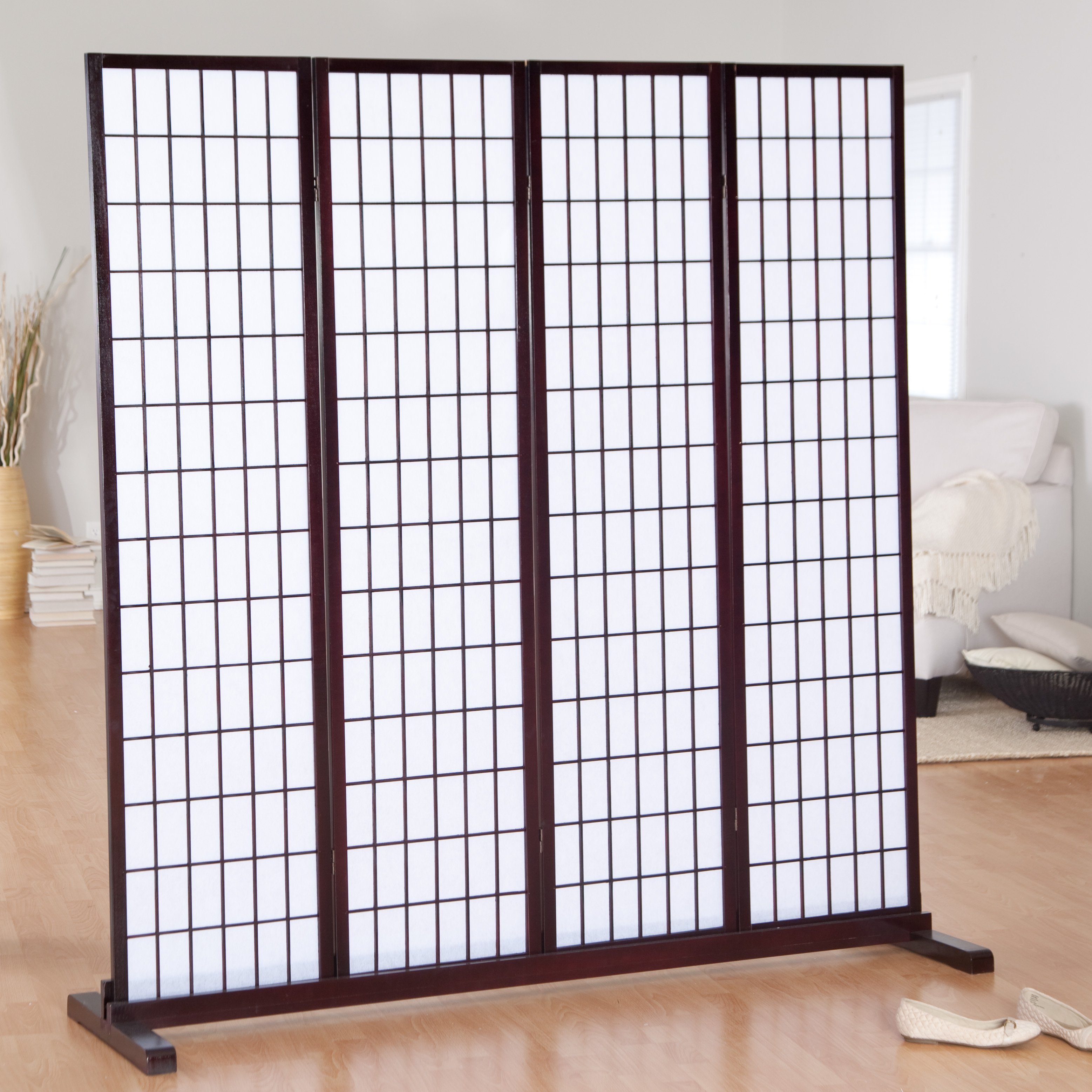 jakun 4 panel shoji room divider with optional stand walmart com